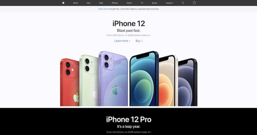 The Apple homepage, which makes effective use of white space and clear information architecture for easy navigation.
