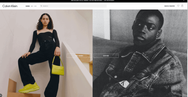 """The Calvin Klein website home page. There are two side by side images of a man and a woman modelling the products. At the top of the page there is a navigation and search bar, and in the middle of the page are two buttons labelled """"shop women"""" and """"shop men""""."""