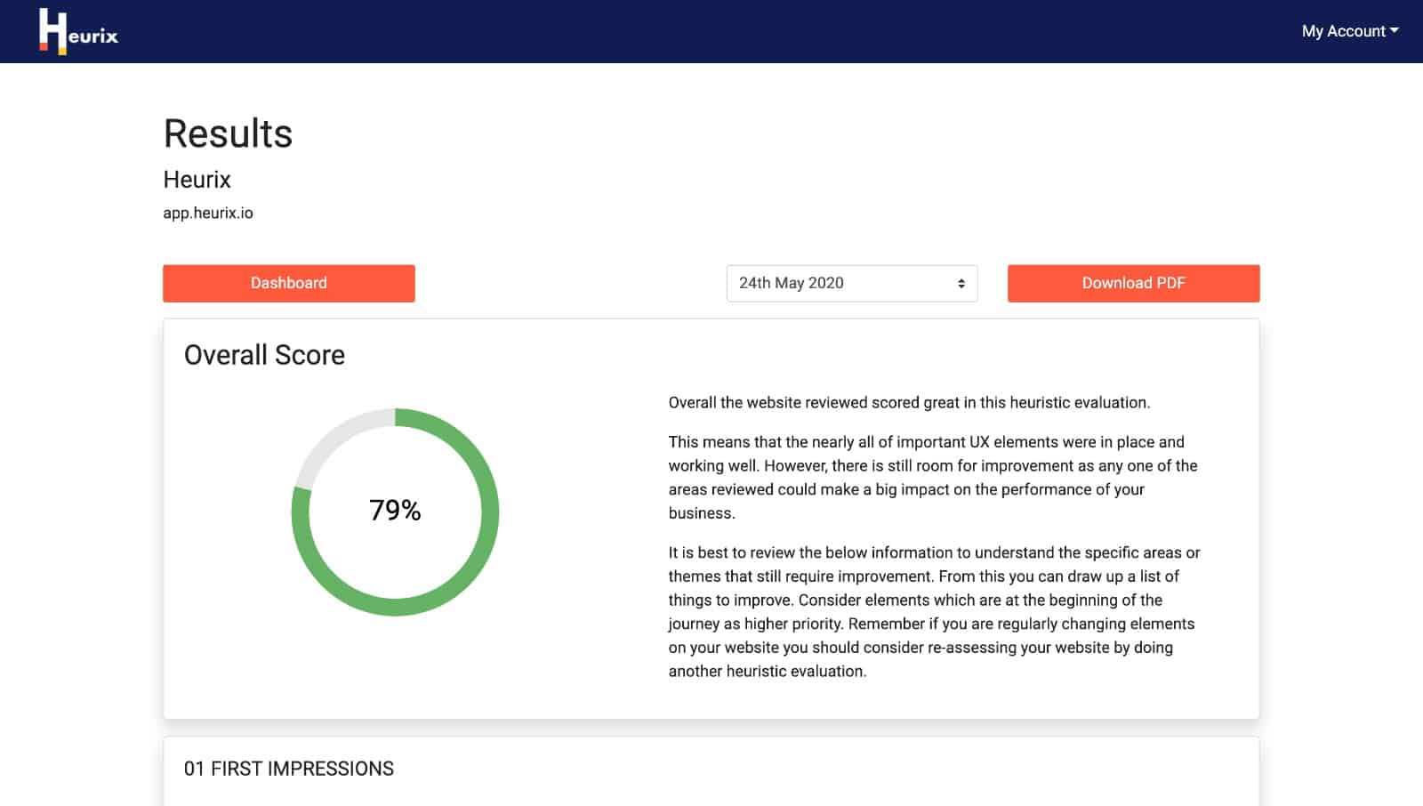 Screenshot showing an example of the report results page